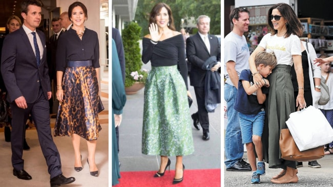 She makes short work of a circle skirt. Photo: Instagram @crownprincess_mary_of_denmark/@hrhprincessmaryofdenmark