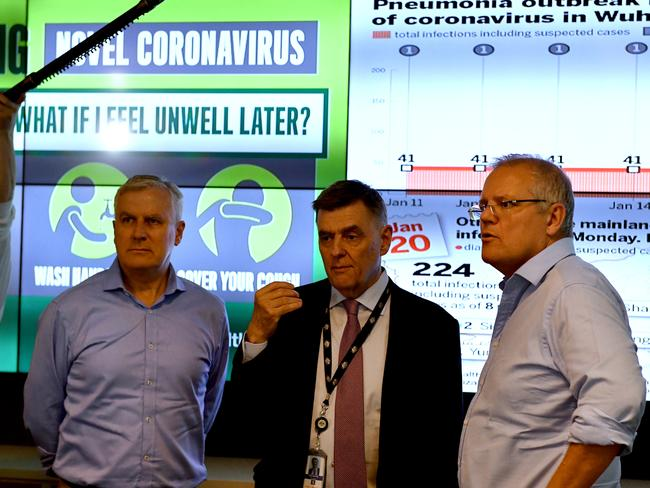 Michael McCormack and Scott Morrison are updated by Chief Medical Officer Brendan Murphy on the steps being taken to control the coronavirus. Picture: AAP