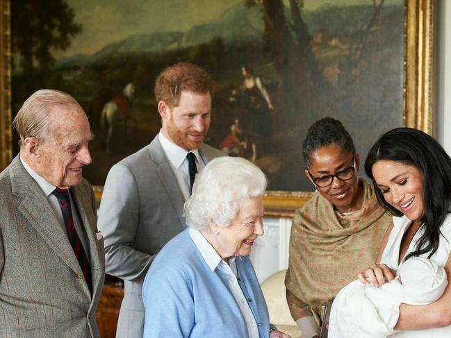 Meghan introducing her cherub to the Queen. Picture: Chris Allerton/SussexRoyal via AP
