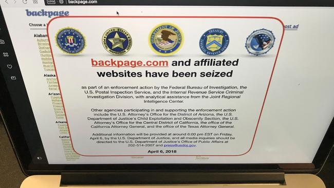 One of the most popular website for Australian sex workers to advertise, Backpage, was seized by the FBI on Friday. Picture: AP Photo/Damian Dovarganes.