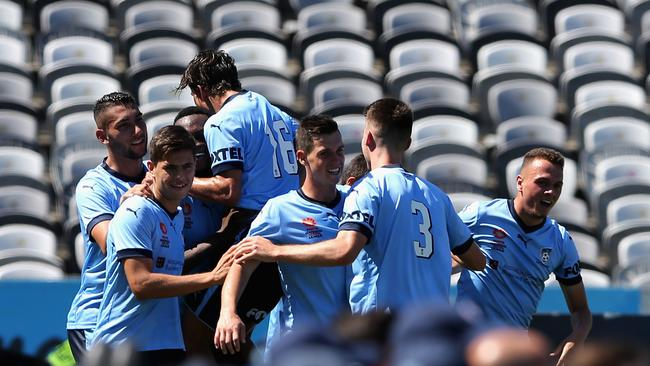 Sydney FC celebrate a goal during the 2017 Youth League Grand Final