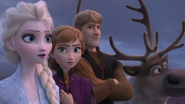 Idina Menzel, Kristen Bell and Jonathan Groff return as the voices of Elsa, Anna and Kristoff (Disney via AP)