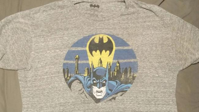 B J May's picture of the caped crusader tshirt that sent his doorbell into lockdown. Picture: @BJMay/Twitter.