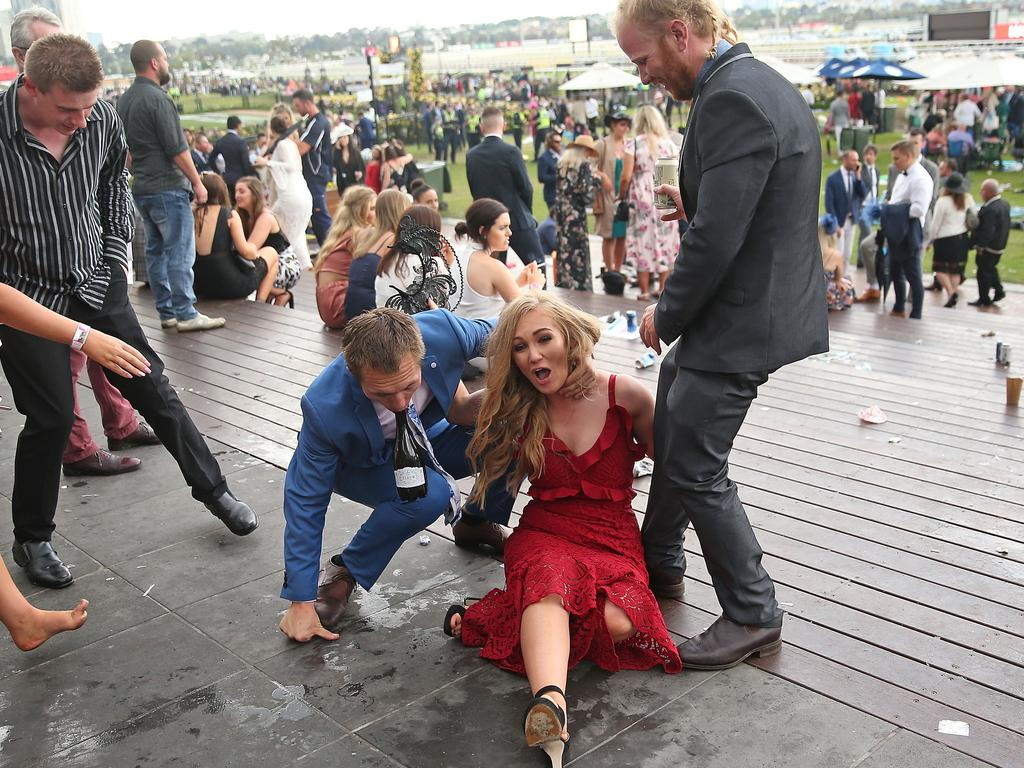 The rain caused for a slippery trackside at Flemington. Picture: Scott Barbour/Getty Images