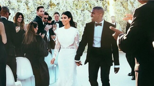 The Florence wedding of Kim Kardashian and Kanye in 2014 was also the scene of Chrissy Teigen and John Legend's biggest fight. Picture: Kim Kardashian/Instagram. Source: Supplied