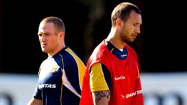 Wallabies Matt Giteau and Quade Cooper during a training session at Coogee Oval.