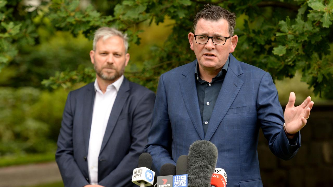 Victorian Premier Daniel Andrews and Chief Health Officer Brett Sutton at the daily COVID press conference at Parliament House. (Picture: NCA NewsWire / Andrew Henshaw)
