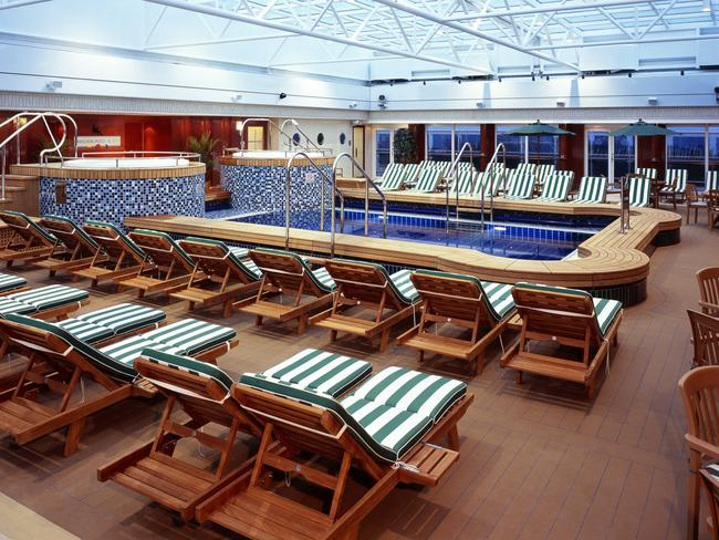 Pool deck of the Queen Mary 2. Picture: Cunard Line
