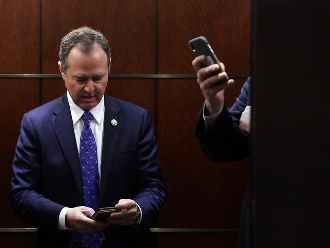 U.S. House Intelligence Committee Chairman Adam Schiff (D-CA) as he takes an elevator to leave after a closed mark-up meeting of the report on the impeachment inquiry into President Donald Trump on December 3 on Capitol Hill in Washington, DC.