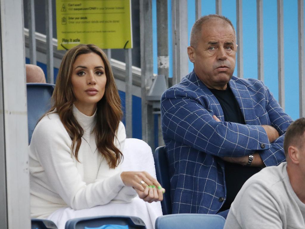 Girlfriend Vanessa Sierra and Bernard Tomic's father John Tomic.