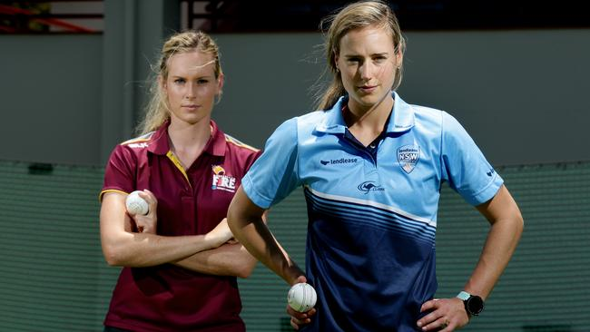 Holly Ferling and Ellyse Perry ahead of the WNCL Final. Picture: Mark Calleja