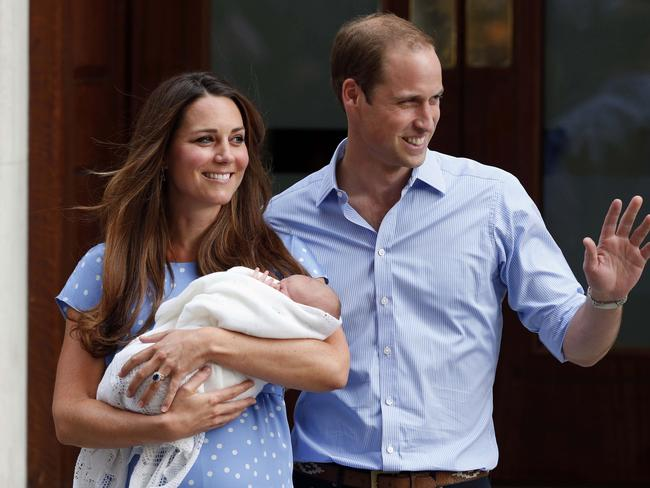 Baby bonus ... Kate, the Duchess of Cambridge, and Prince William with baby George outside St Mary's Hospital in 2013. Picture: AP