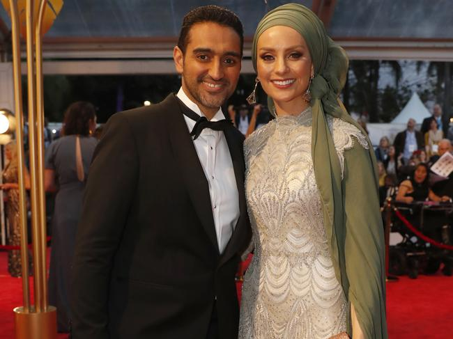 Waleed Aly and Susan Carland at the 2018 Logie Awards at The Star Casino.