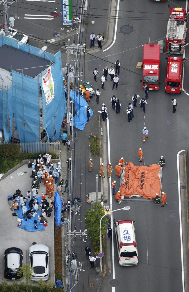 This aerial photo shows the scene of an attack in Kawasaki, near Tokyo. Picture: AP