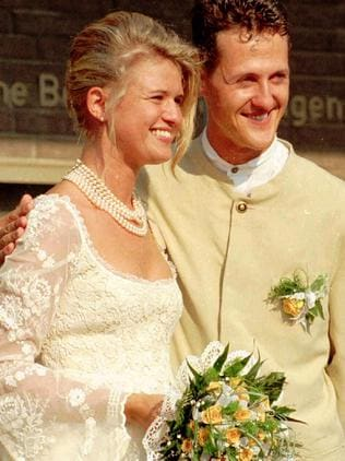 Formula One (F1) world champion Michael Schumacher and new wife Corinna (nee Bertsch) in 1995. Picture: Supplied
