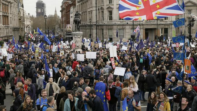 Demonstrators making their way through a packed Trafalgar Square on Saturday. Picture: AP