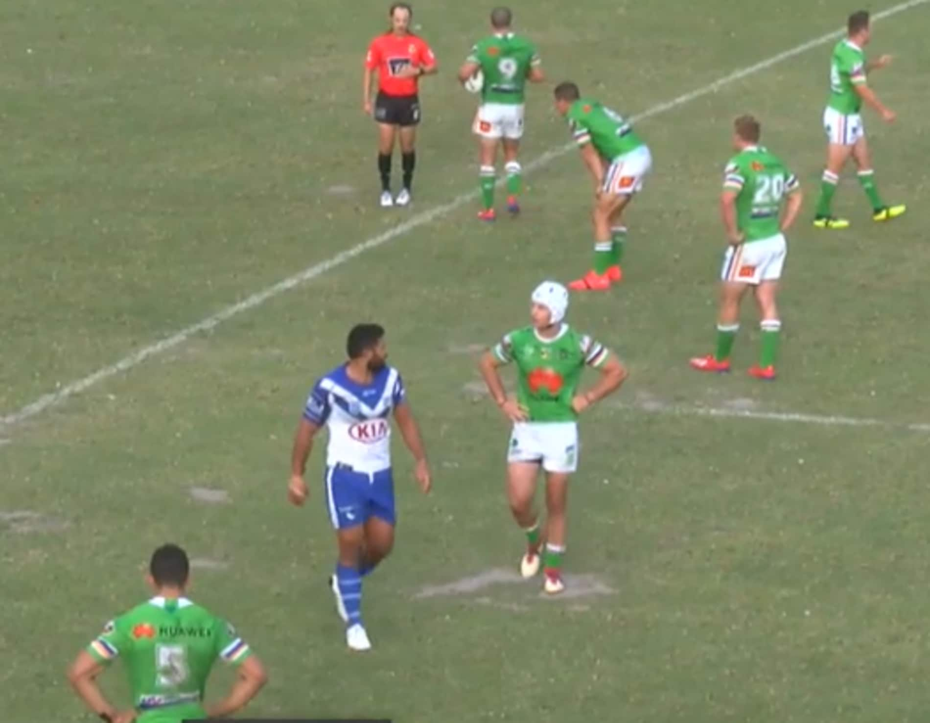 Rhyse Martin was sent to the sin bin in the Bulldogs v Raiders trial.