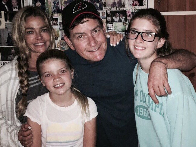 Sheen in a rare family photo with his ex-wife and their daughters Sam and Lola Rose. Picture: Instagram
