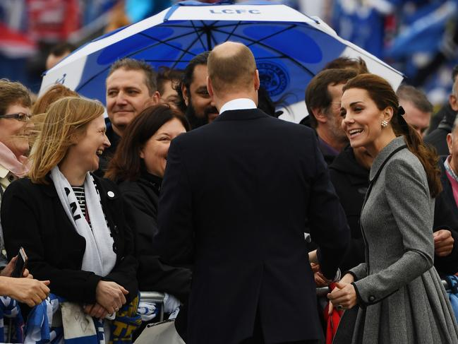 The couple met members of the public. Picture: AFP