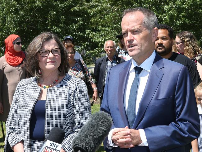 Labor leader Bill Shorten announces Ged Kearney (left) as the Labor candidate to contest the Batman by-election. Picture: David Crosling/AAP