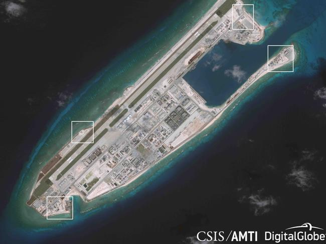 Images of anti-aircraft and antimissile systems on artificial islands built by China in the South China Sea, according to the Asia Maritime Transparency Initiative at the Centre for Strategic and International Studies. Picture: Centre for Strategic and International Studies