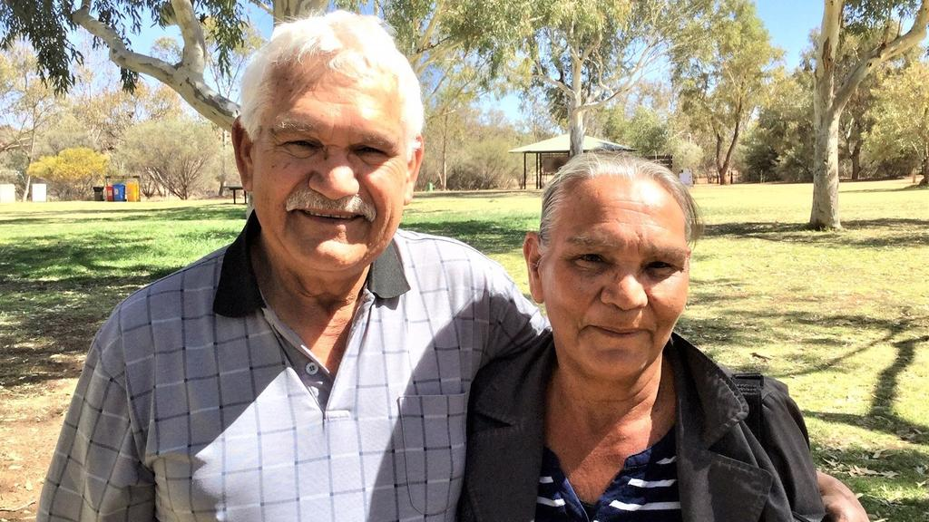 Central District Football Club great Sonny Morey with his sister Phyllis Gorey in Alice Springs. Picture: Robert Laidlaw