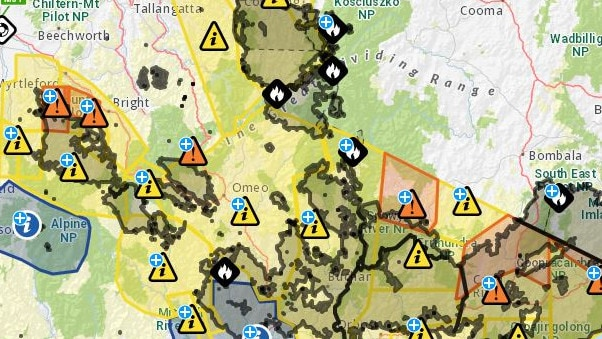 A map of Victoria shows fires still burning on Friday morning. Picture: VicEmergency