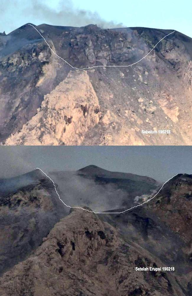 Blown its top: The summit of Mount Sinabung before and after the explosive eruption on February 19. Picture: Center for Volcanology and Geological Hazard Mitigation via AP