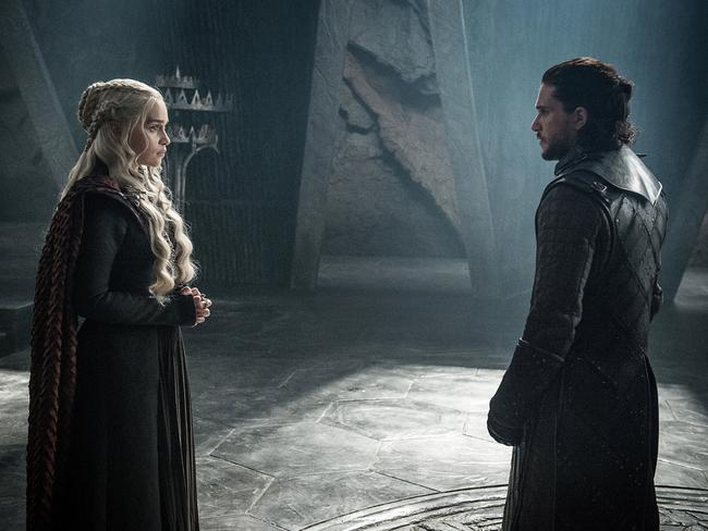 GoT's favourite heroes. Emilia Clarke as Daenerys Targaryen and Kit Harington as Jon Snow. Picture: Helen Sloan/Courtesy of HBO/AP