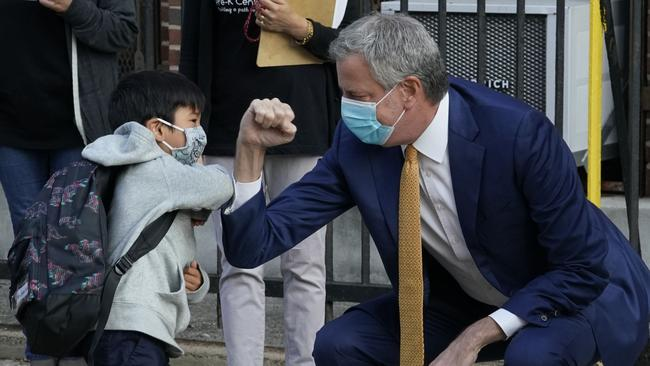 New York City Mayor Bill de Blasio will seek to close non-essential businesses and all schools in nine neighbourhoods of Brooklyn and Queens. Picture: AFP
