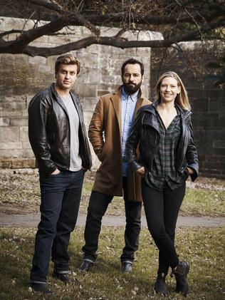Dan Wyllie, Anna Torv and Alex Dimitriades. Picture: Nick Wilson/Foxtel