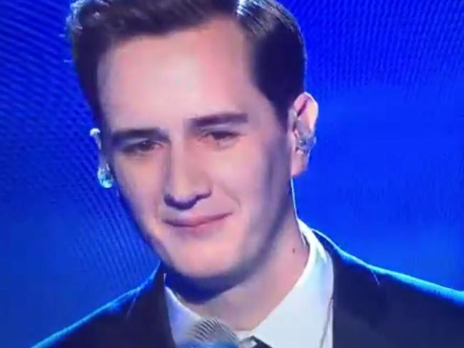 Bullied ... Joe Irvine remained dignified as he was torn to shreds on stage. Picture: TV3