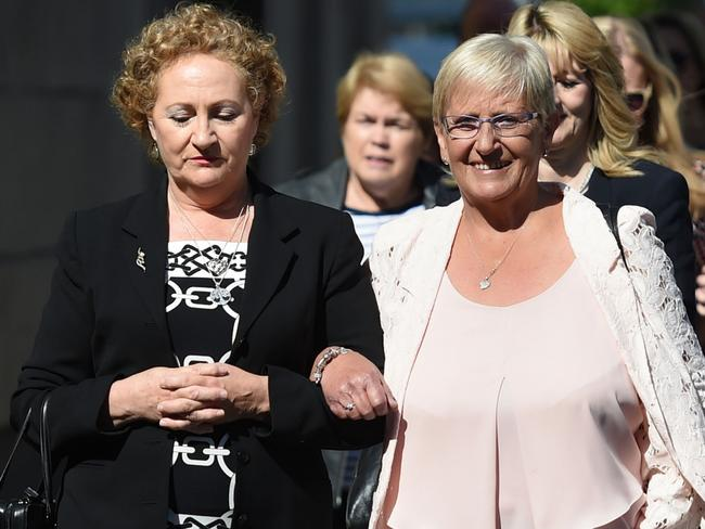 Diane Green (left) and Judith Conduit (right) arrive at Nottingham Crown Court with other victims in 2017 to see Ian Paterson convicted. Picture: Joe Giddens/PA Wire