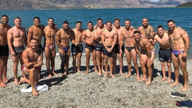 The Roosters in New Zealand on training camp.