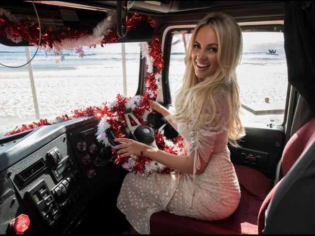 Samantha Jade inside Australia's first Coke Christmas Truck. Picture: Supplied