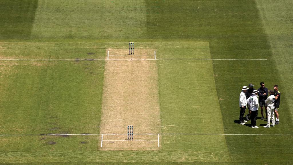 The MCG pitch that forced a Sheffield Shield match to be abandoned. Picture: AAP Image/Sean Garnsworthy