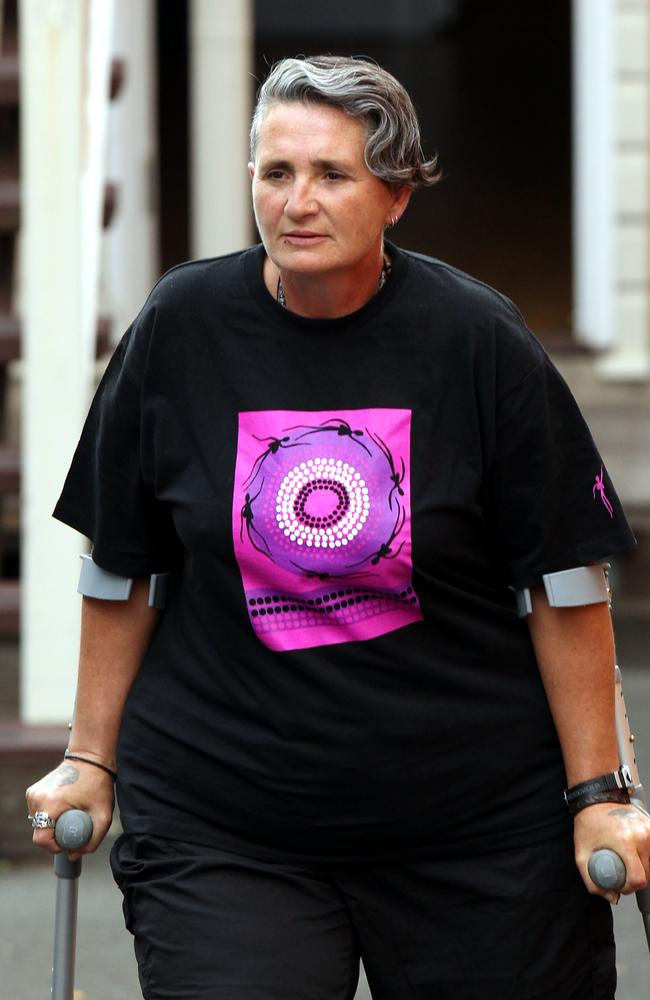 Tracey Wigginton, dubbed the lesbian vampire killer, is pictured in Brisbane after her release from jail.