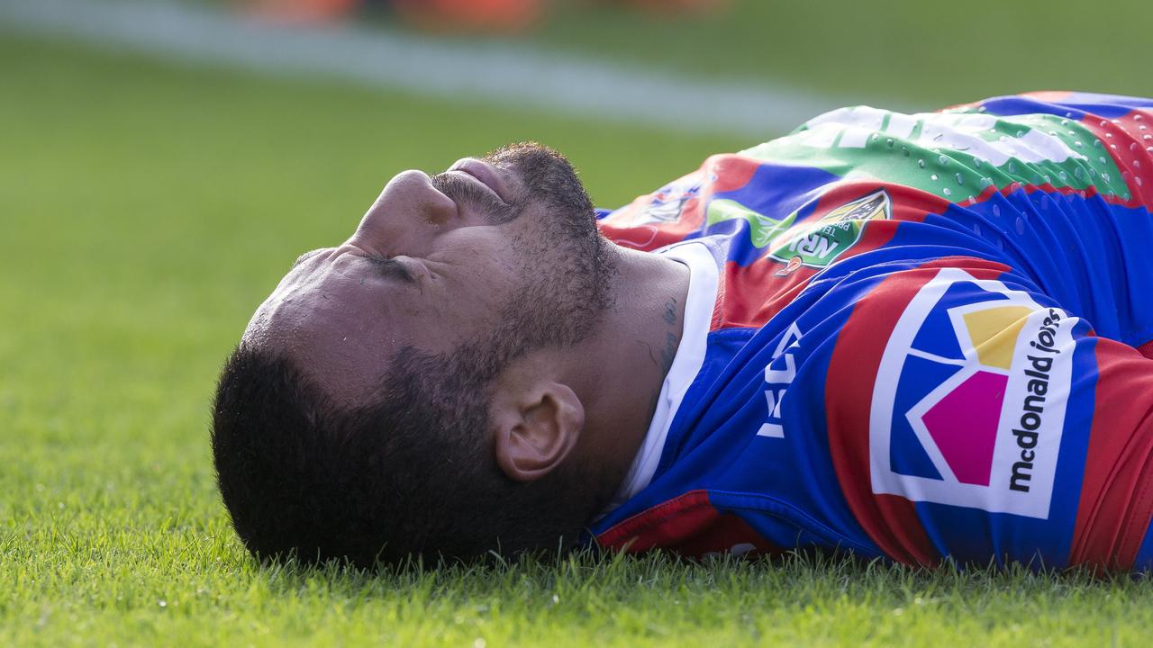 Tautau Moga after injuring his knee last year.