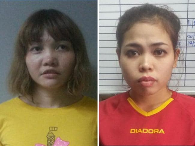 Doan Thi Huong of Vietnam (L) and Siti Ashyah of Indonesia (R), who were detained in connection to the assassination of Kim Jong-Nam. Picture: AFP