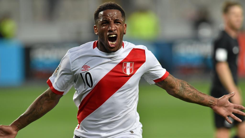 Peru s Jefferson Farfan celebrates after scoring against New Zealand during  their 2018 World Cup qualifying play 389f3071c