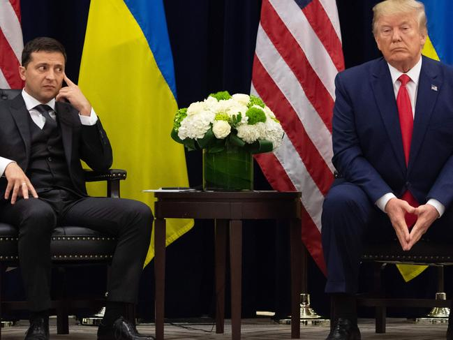 US President Donald Trump and Ukrainian President Volodymyr Zelensky during a meeting in New York on September 25, 2019. Pic: AFP