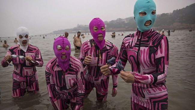 The Face-kini is the fashion trend of the summer in China. Image: Getty