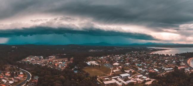 The stunning photograph shows the storm system on its way to Sydney this afternoon. Picture: Josh Burkinshaw