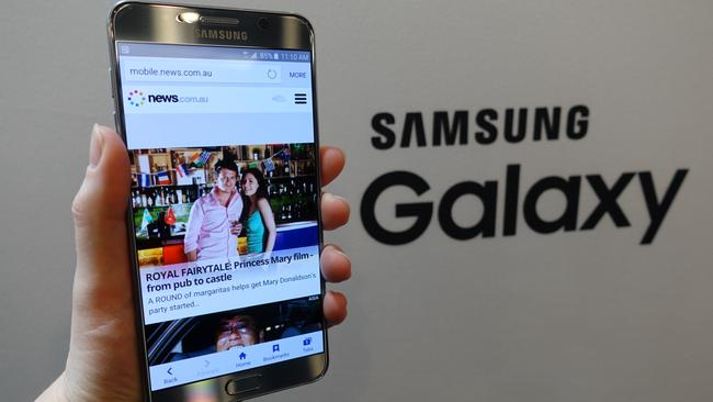 The Samsung Galaxy Note 5, launched in New York, shows off News.com.au on its 5.7-inch screen. This phone model is not part of the recall.