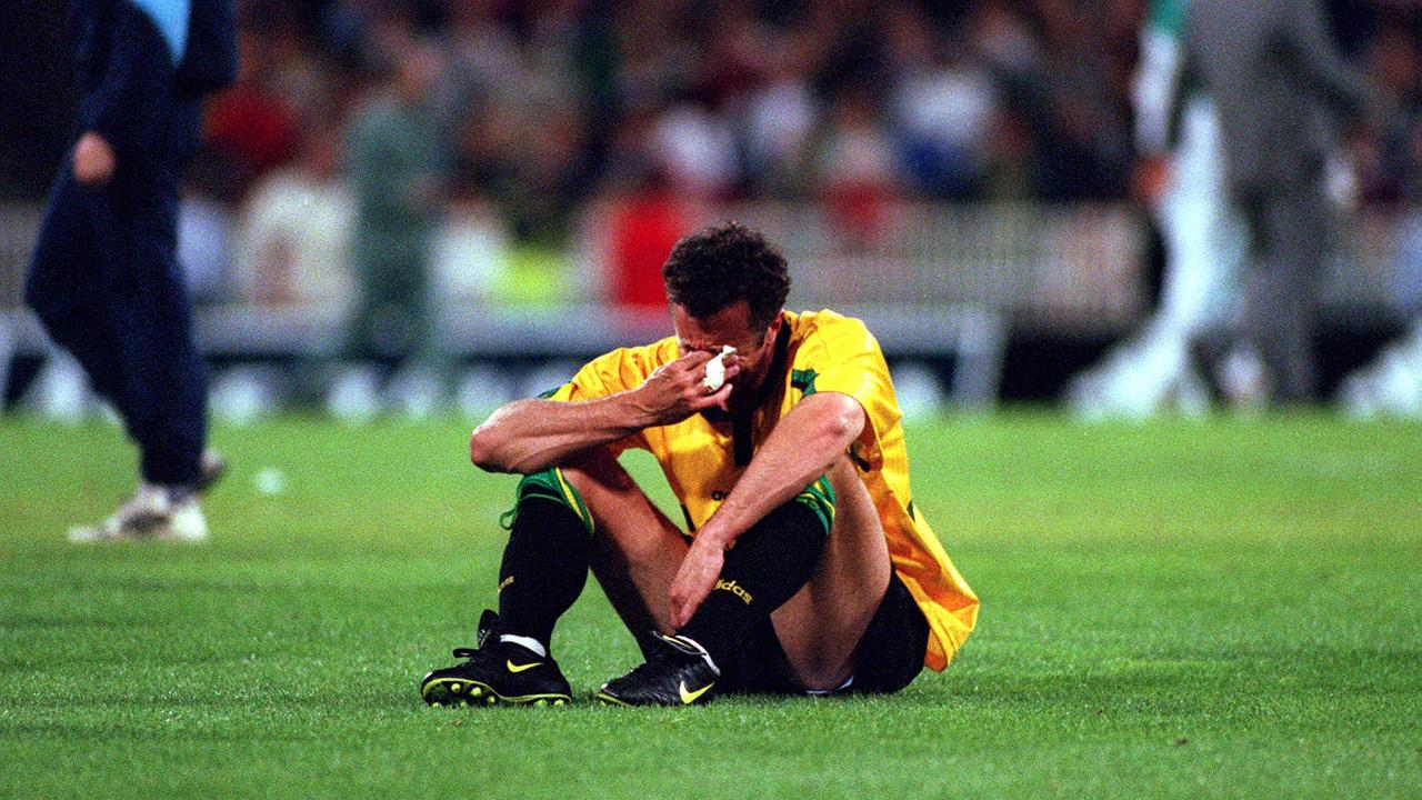 Graham Arnold at the MCG after Iran snatched qualification for the 1998 World Cup away from Australia.