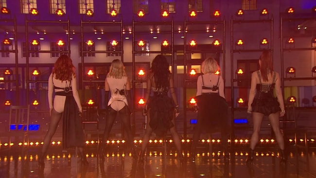 The Pussycat Dolls seemed to miss their introduction, remaining with their backs to the audience as the backing track started up. Picture: YouTube.