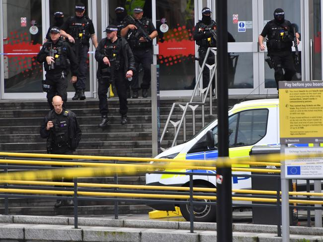 Armed police surround Arndale shopping centre. Picture: Getty