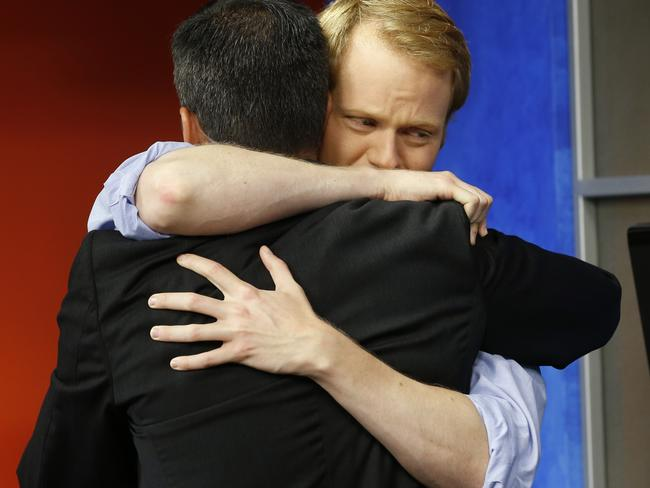 Remembrance day ... Parker's boyfriend Chris Hurst, right, appeared on the morning show to talk about their relationship. Picture: Steve Helber/AP