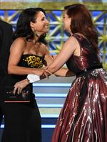 Julia Louis-Dreyfus accepts Outstanding Lead Actress in a Comedy Series for 'Veep' from actor Debra Messing onstage during the 69th Annual Primetime Emmy Awards at Microsoft Theater on September 17, 2017 in Los Angeles, California. Picture: Getty