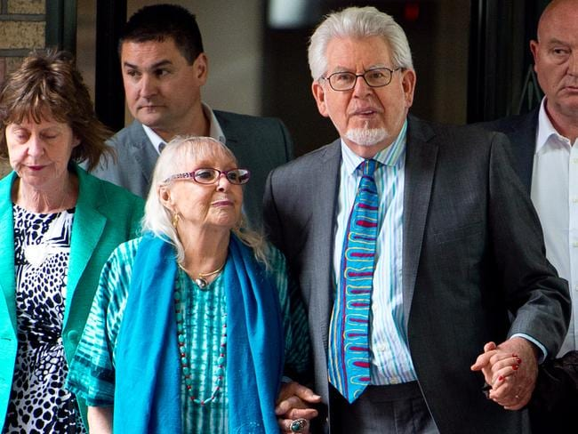 Rolf Harris leaves court with his wife Alwen Hughes after being found guilty of 12 indecent assault charges in June 2014. Picture: Getty